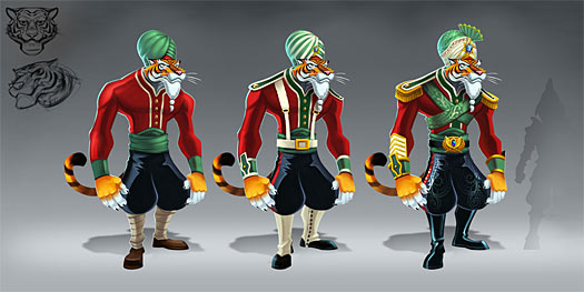 The final concept shown below came after a few iterations with sketches and rough ideas.  We wanted the tigers to be strong but they still needed to look agile.  We ended up going with a sleeker silhouette that captured the strength and agility of the tiger race much better than the earlier versions