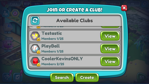 join club menu